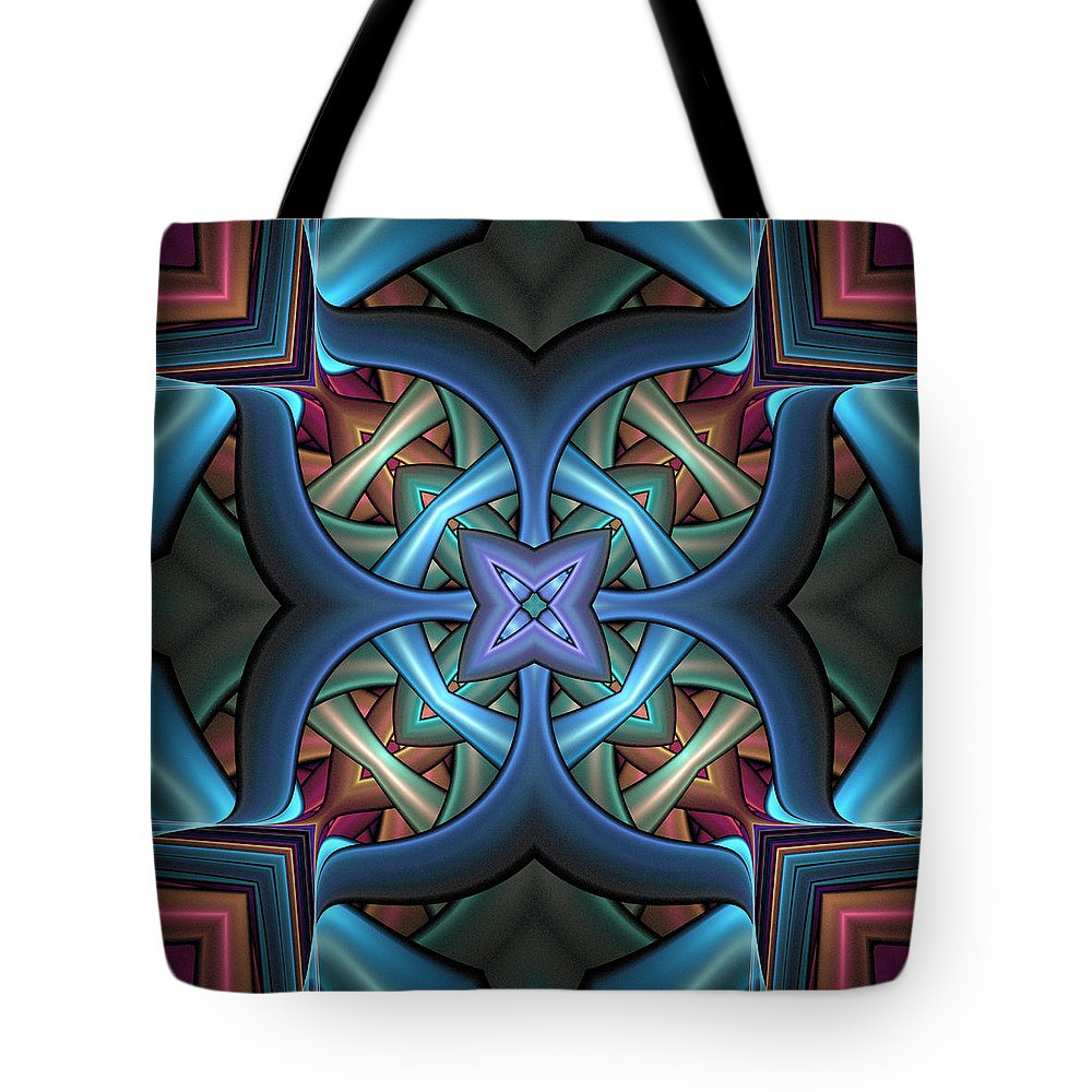 Digital Art Tote Bag featuring the digital art Stacked Kaleidoscope by Amanda Moore