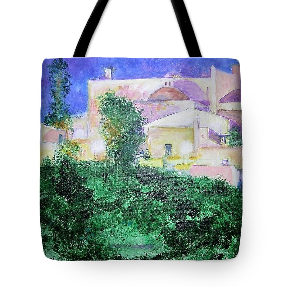 Landscape Tote Bag featuring the painting StaEulalia Church - lit up at night by Lizzy Forrester