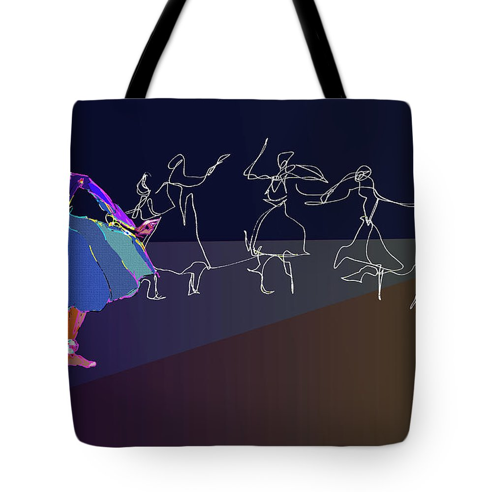 Kat Ah Tote Bag featuring the digital art Stage Presence by Anthe Capitan-Valais