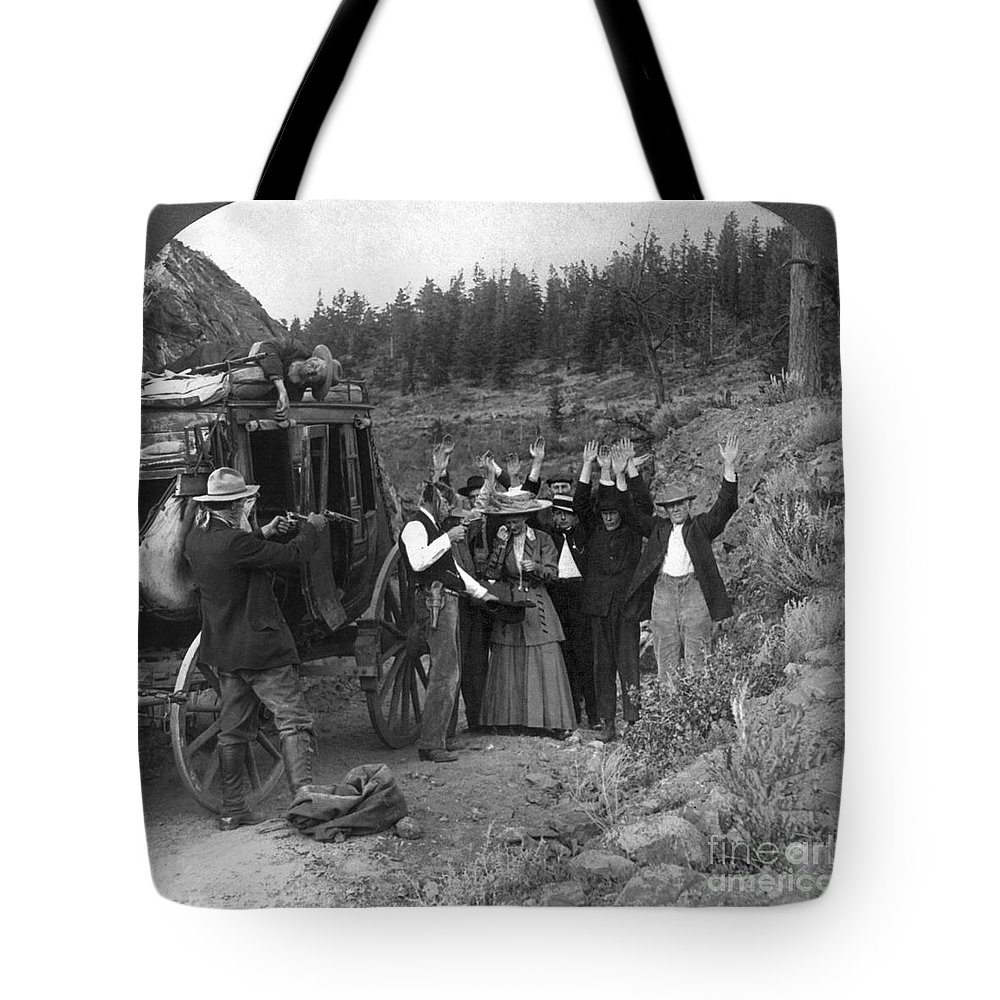 1911 Tote Bag featuring the photograph Stagecoach Robbery, 1911 by Granger