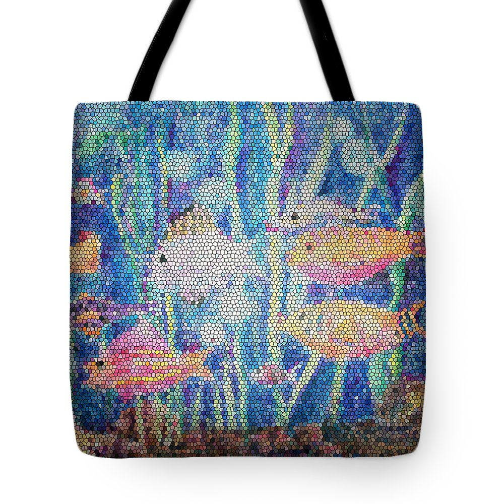 Fish Tote Bag featuring the mixed media Stained Glass Fish by Arline Wagner
