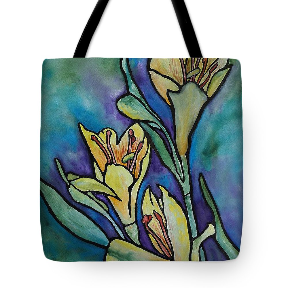 Flowers Tote Bag featuring the painting Stained Glass Flowers by Ruth Kamenev