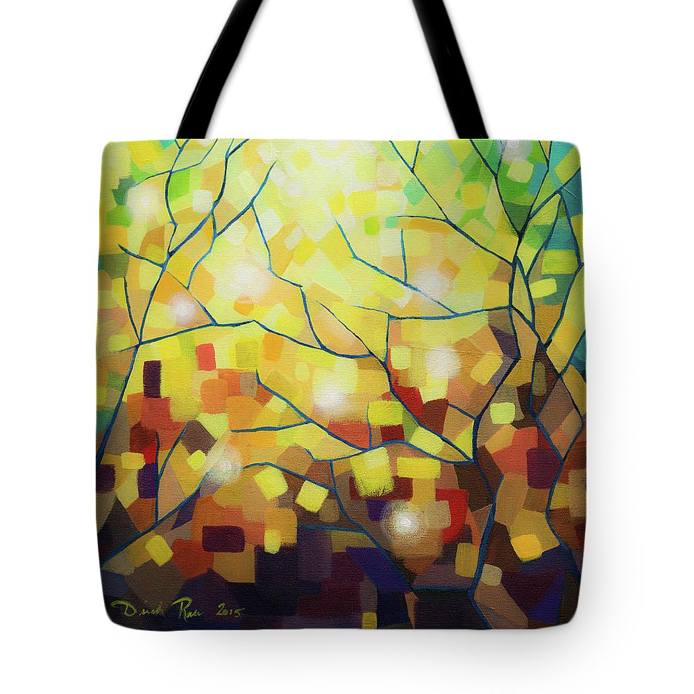 Abstract Tote Bag featuring the painting Stained Glass Forest by Dinah Rau