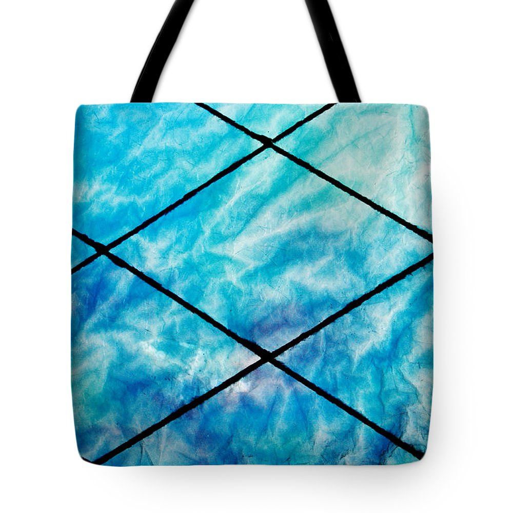 Stained Tote Bag featuring the photograph Stained Glass In Blues by Deana Connell