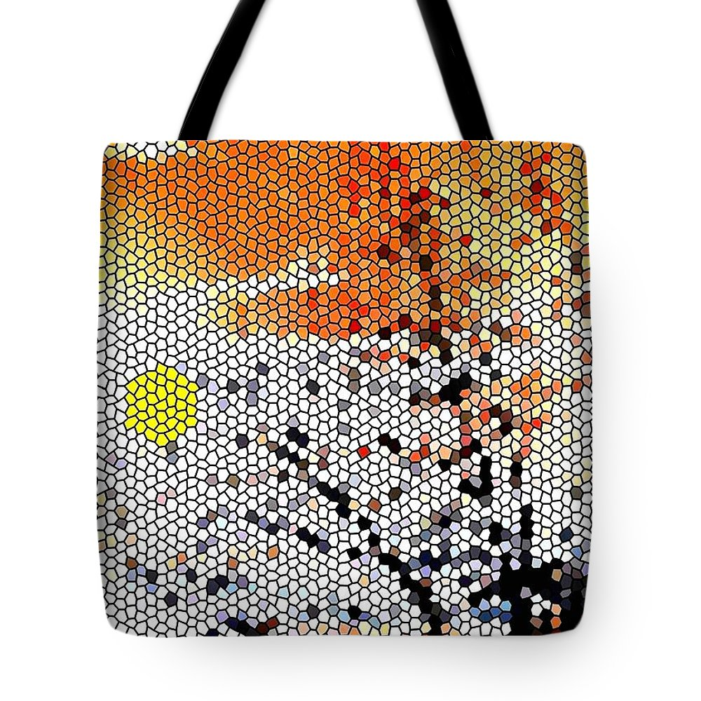 Abstract Tote Bag featuring the digital art Stained Glass Sunset by Will Borden
