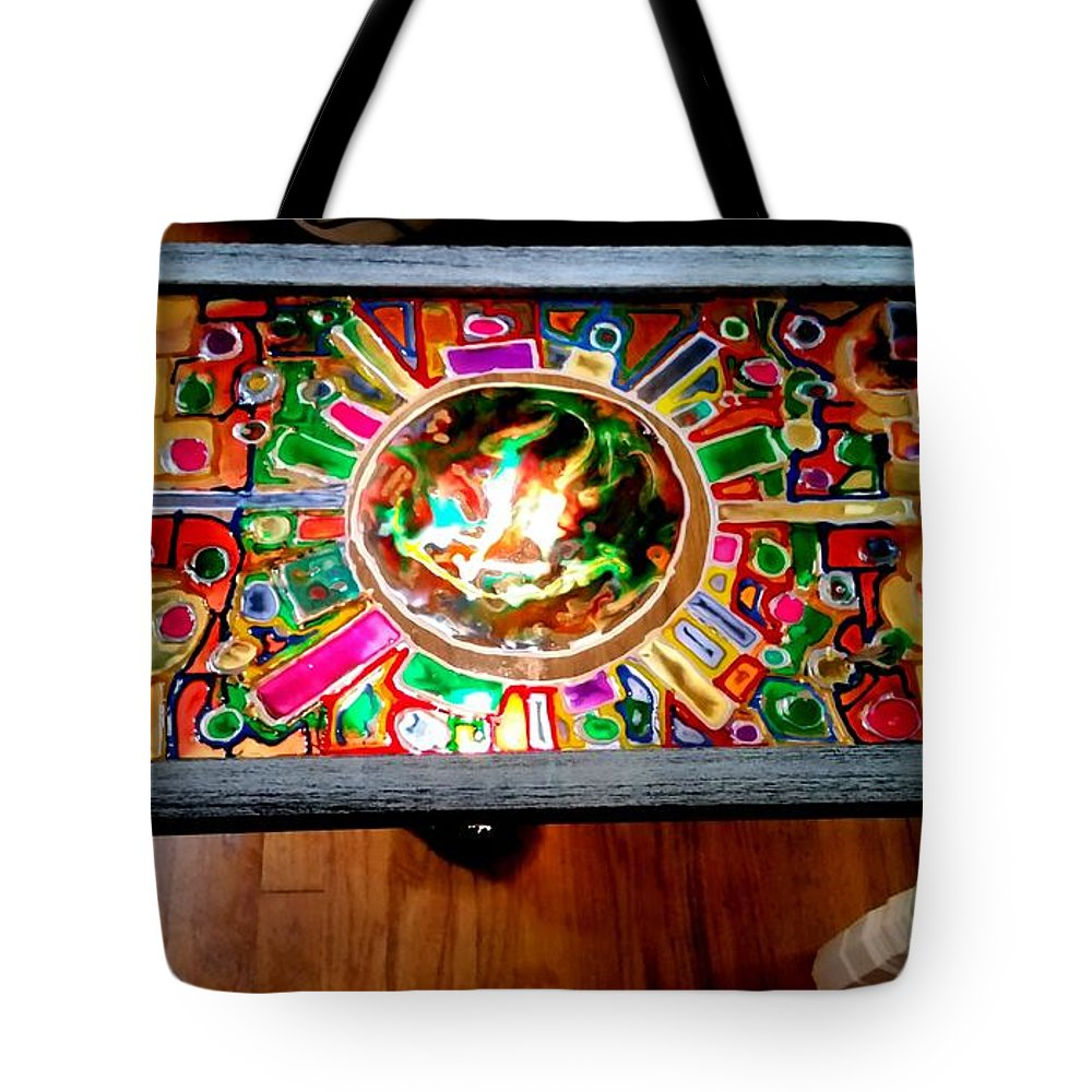 Stained Glass Table Tote Bag featuring the glass art Stained Glass Table by Steve Semiatin