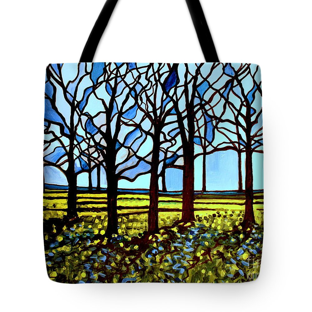 Blue Tote Bag featuring the painting Stained Glass Trees by Elizabeth Robinette Tyndall
