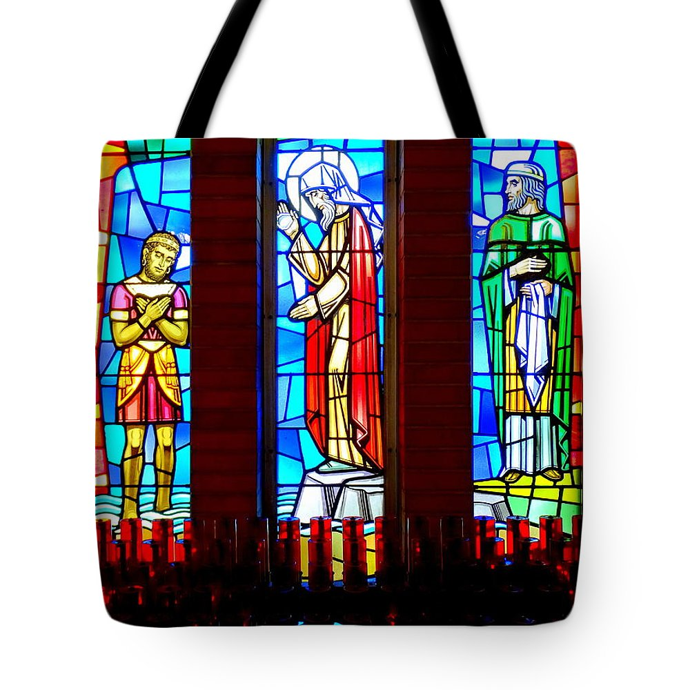Stained Glass Tote Bag featuring the photograph Stained Glass Triptych by Ed Weidman