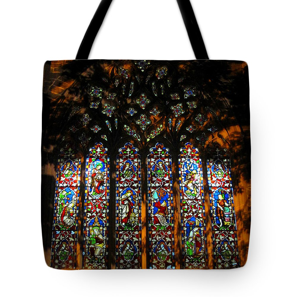 Christ Church Cathedral Fredericton Tote Bag featuring the photograph Stained Glass Window Christ Church Cathedral 1 by Mark Sellers