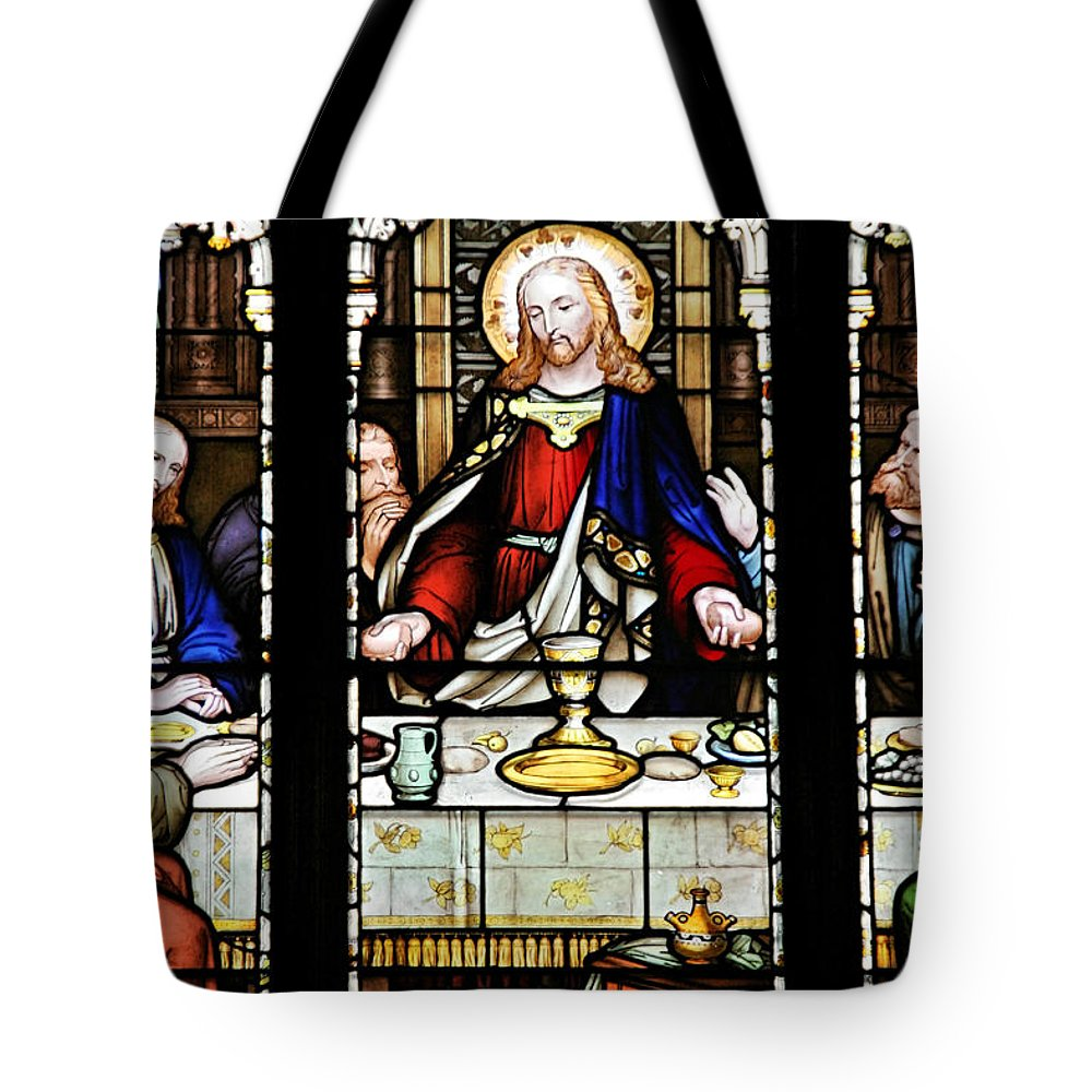 Stained Tote Bag featuring the photograph Stained Glass Window Last Supper Saint Giles Cathedral Edinburgh Scotland by Christine Till