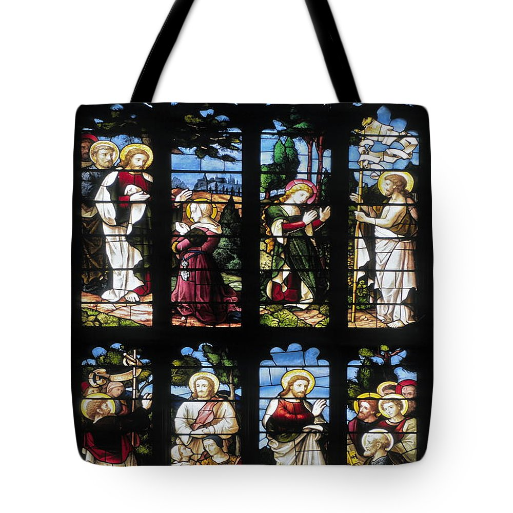 Stained Glass Church Window Tote Bag featuring the photograph Stained Glass Window by Sally Weigand