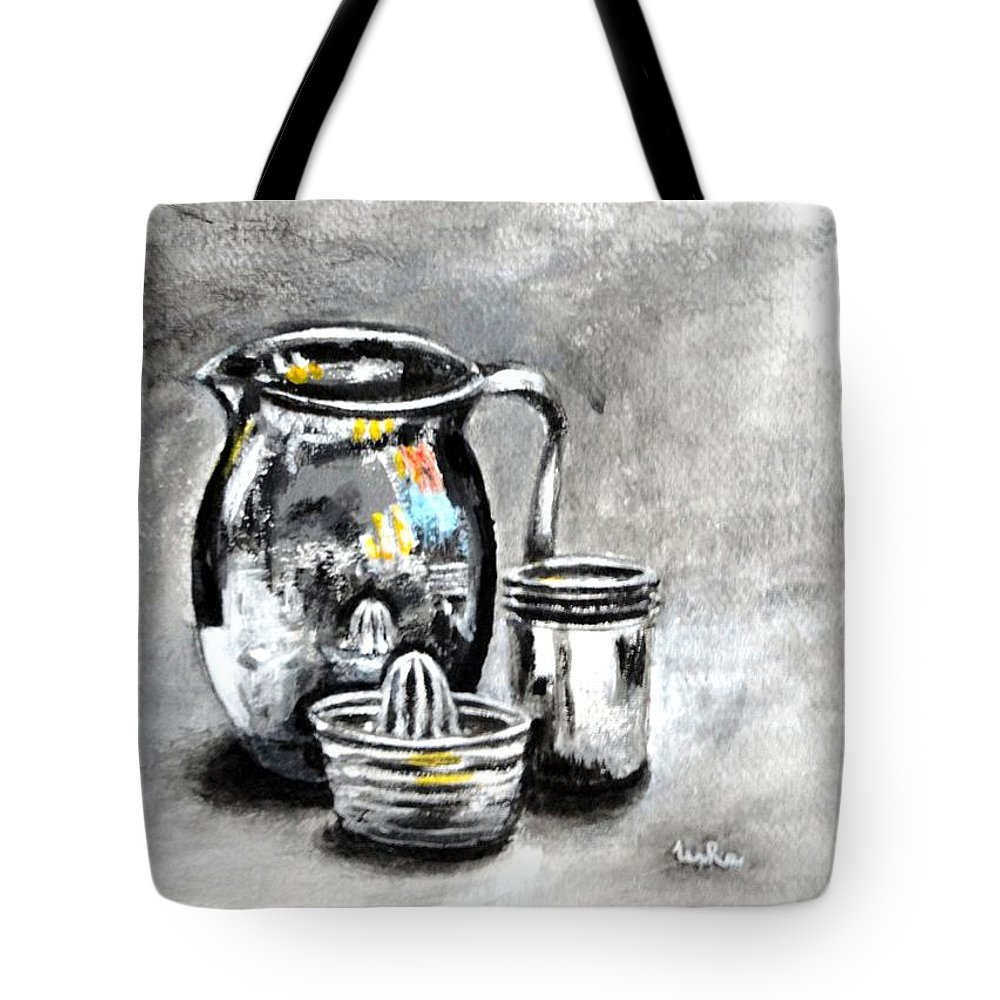 Stainless Tote Bag featuring the painting Stainless Steel Still Life Painting by Usha Shantharam