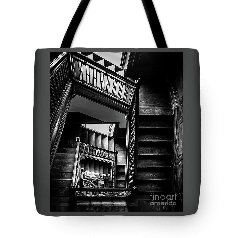 Swannanoa Mansion Tote Bag featuring the photograph Staircase In Swannanoa Mansion by Jennifer Mitchell