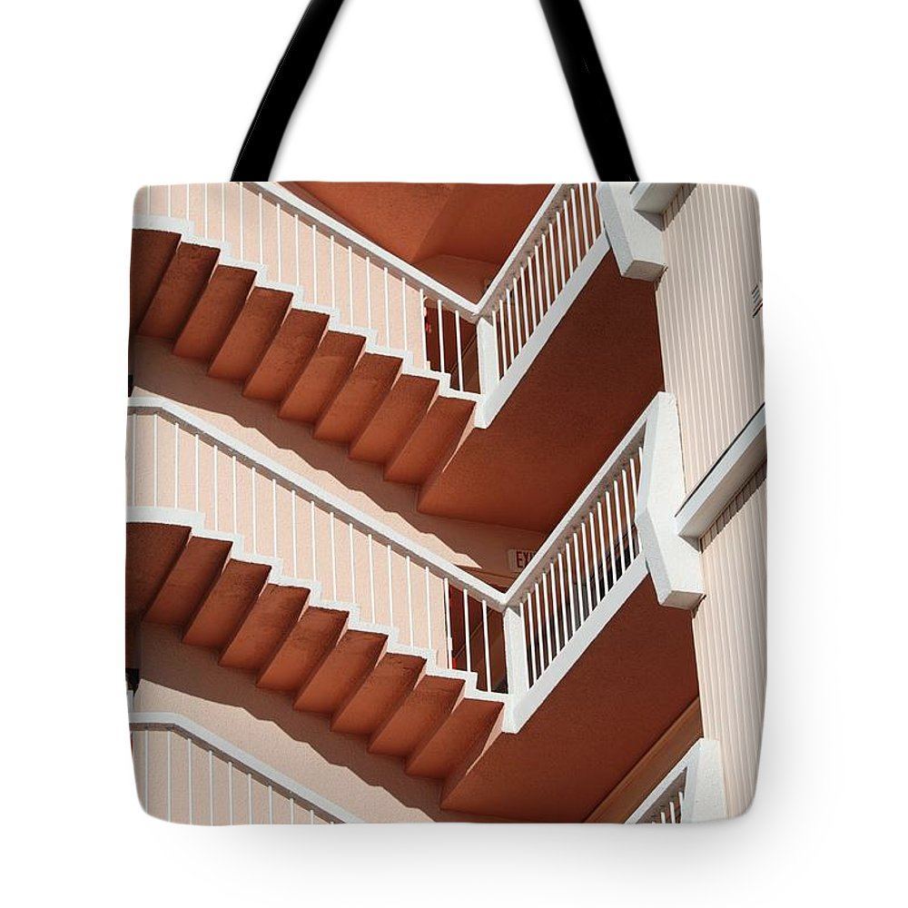 Architecture Tote Bag featuring the photograph Stairs And Rails by Rob Hans