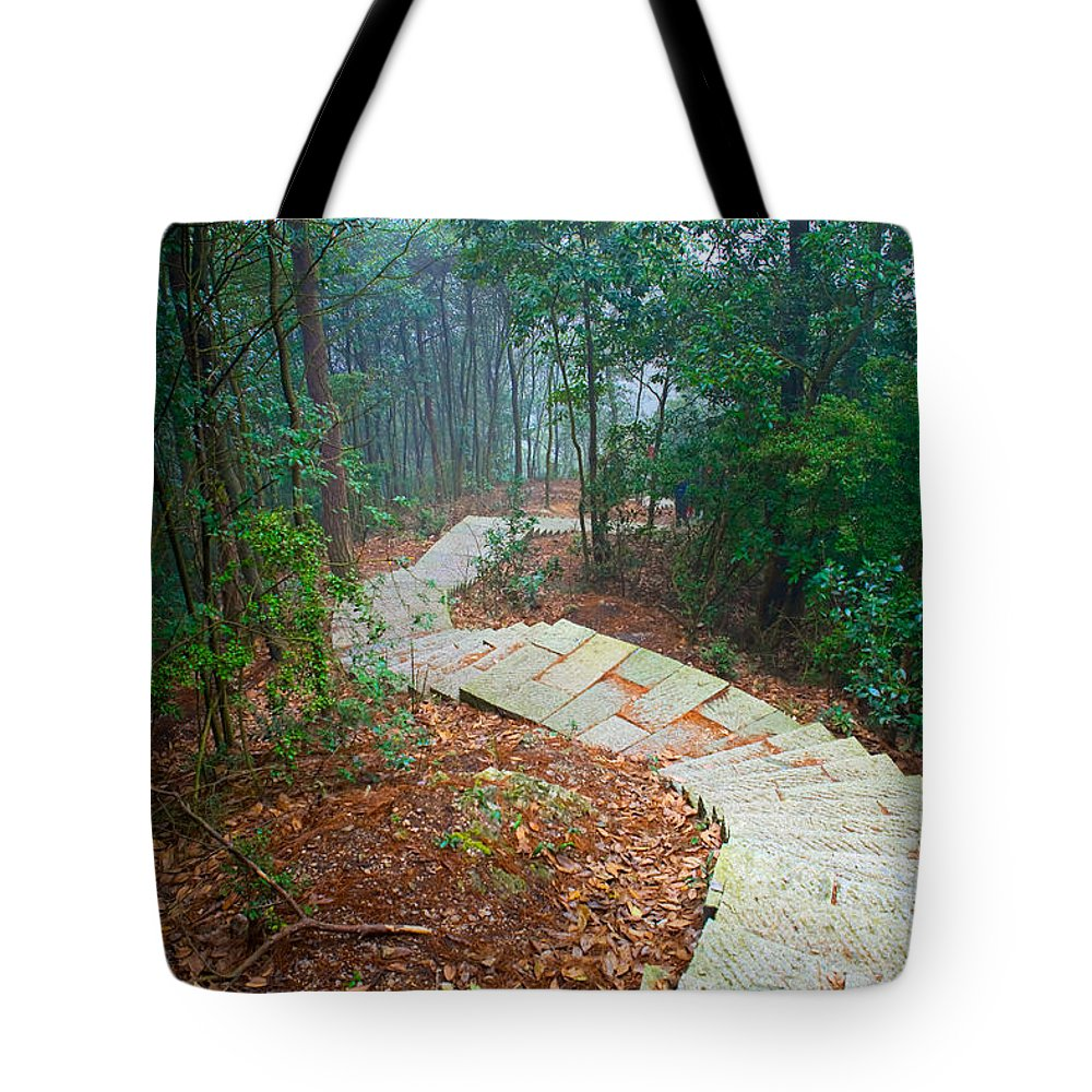 Trees Tote Bag featuring the photograph Stairs Down Mountain by James O Thompson