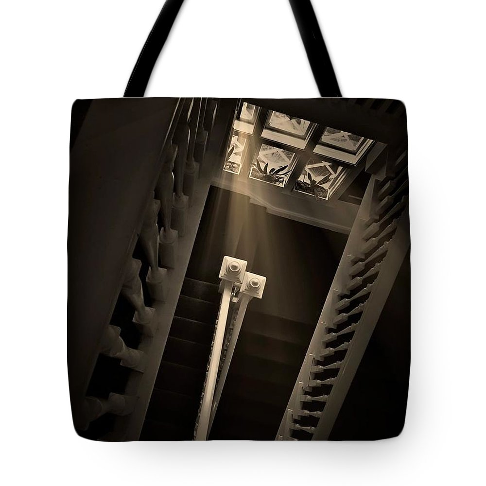 Old Tote Bag featuring the photograph Stairway Light, Redstone Castle, Colorado by Zayne Diamond Photographic
