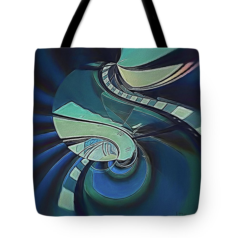 Abstract Tote Bag featuring the digital art Stairway by Linda Dunn