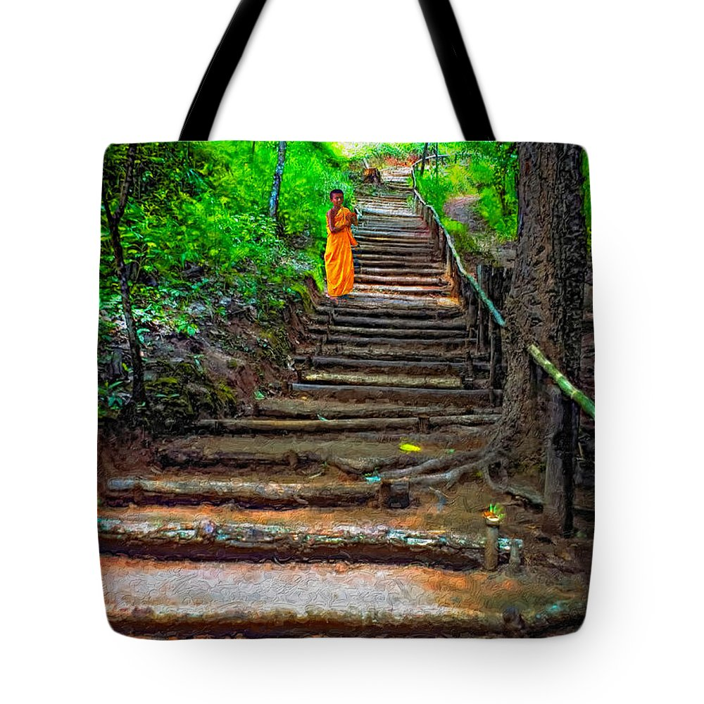 Jungle Tote Bag featuring the photograph Stairway To Heaven Impasto by Steve Harrington