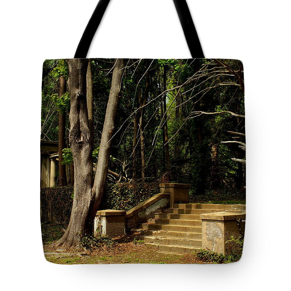 Muttontown Tote Bag featuring the photograph Stairway To Nowhere by John Wall