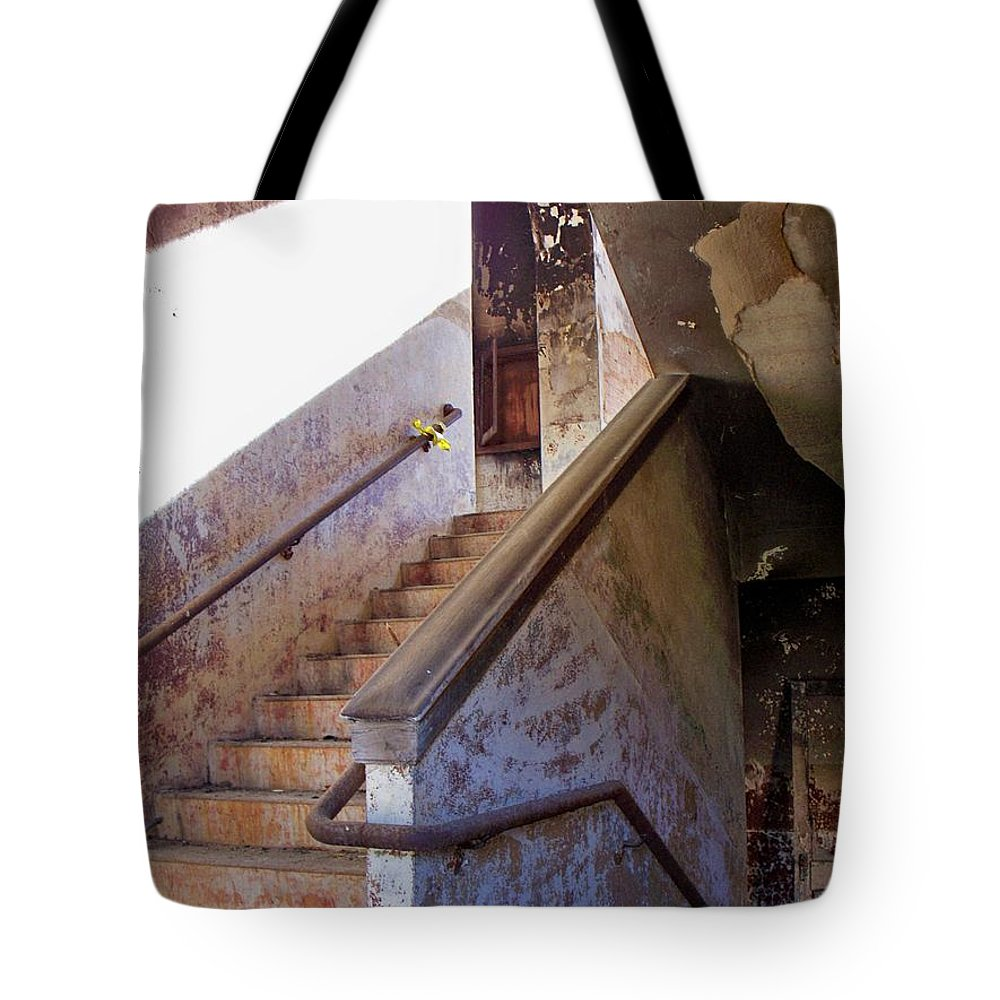 Stair Tote Bag featuring the photograph Stairway To Yesterday by Betty Northcutt