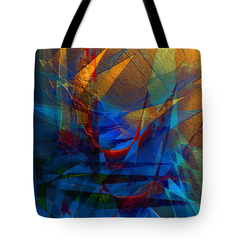 Abstract Tote Bag featuring the digital art Stairway Upon Grail Passeges by Stephen Lucas