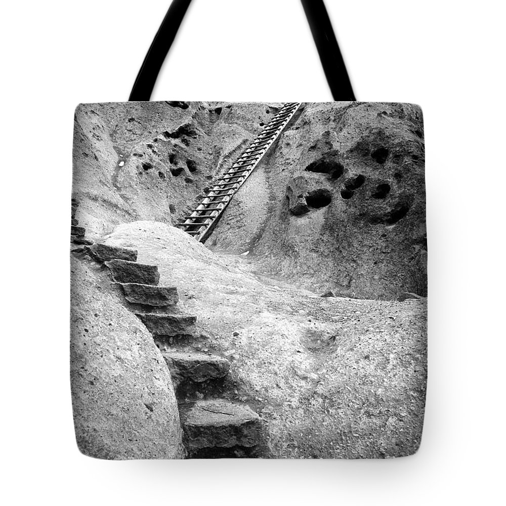 B&w Tote Bag featuring the photograph Stairways To The Kiva by Sandra Bronstein
