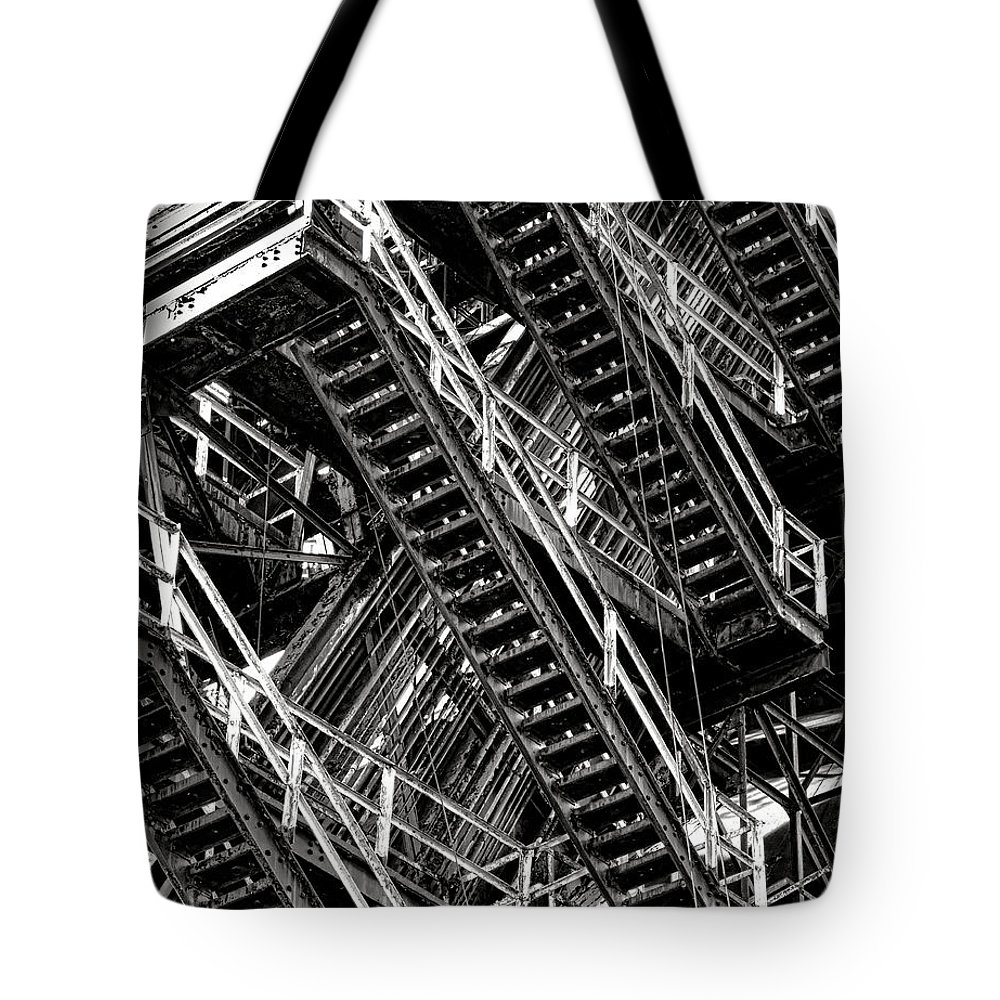 Industrial Tote Bag featuring the photograph Stairwell Hell by Olivier Le Queinec