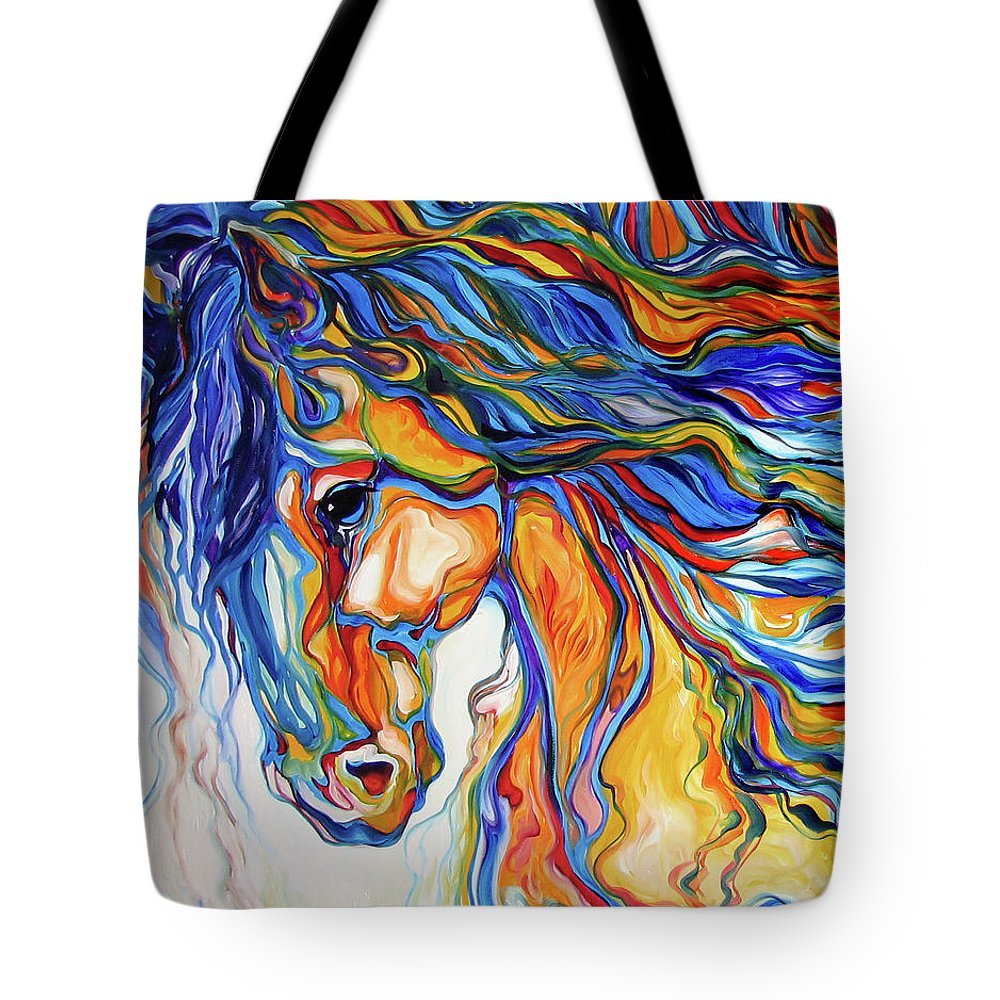 Equine Tote Bag featuring the painting Stallion Southwest By M Baldwin by Marcia Baldwin