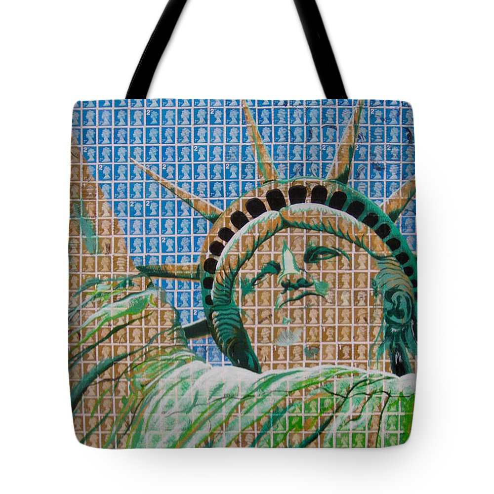 Liberty Tote Bag featuring the painting Stampue Of Liberty by Gary Hogben