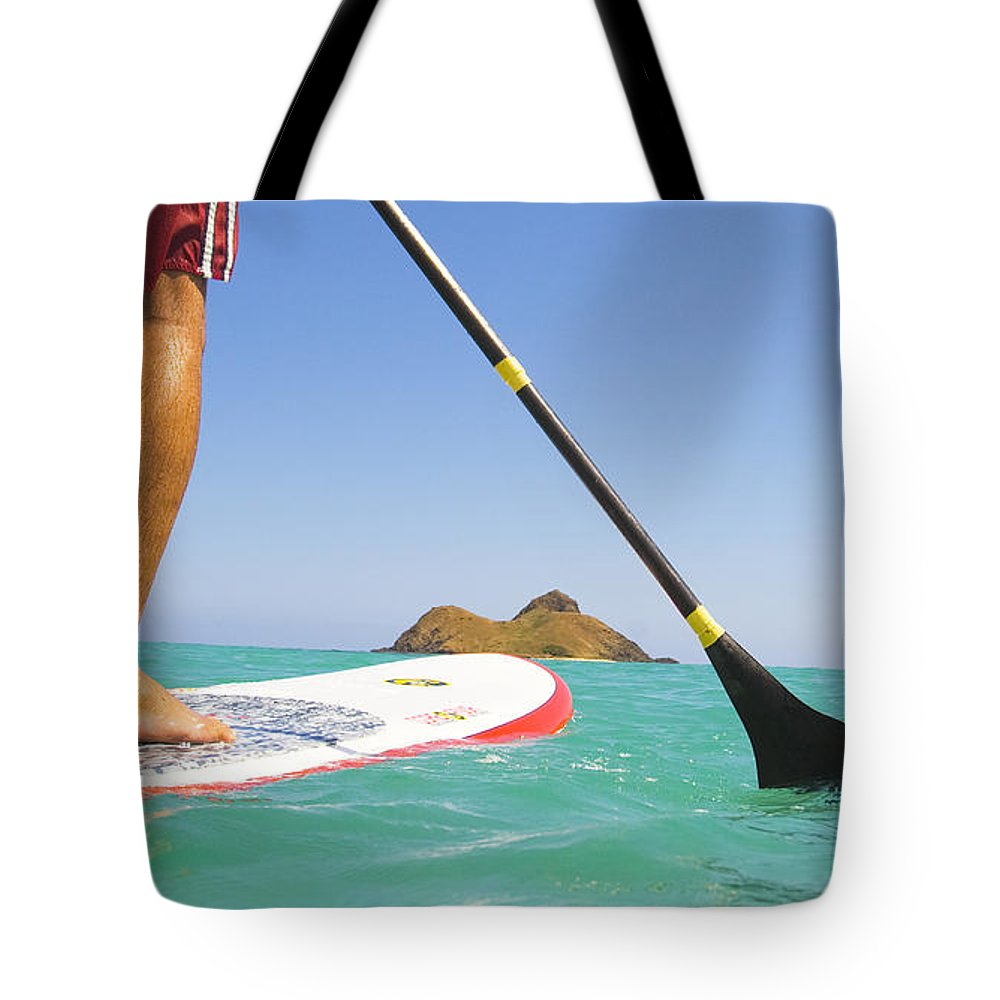 Adrenaline Tote Bag featuring the photograph Stand Up Paddling by Dana Edmunds - Printscapes
