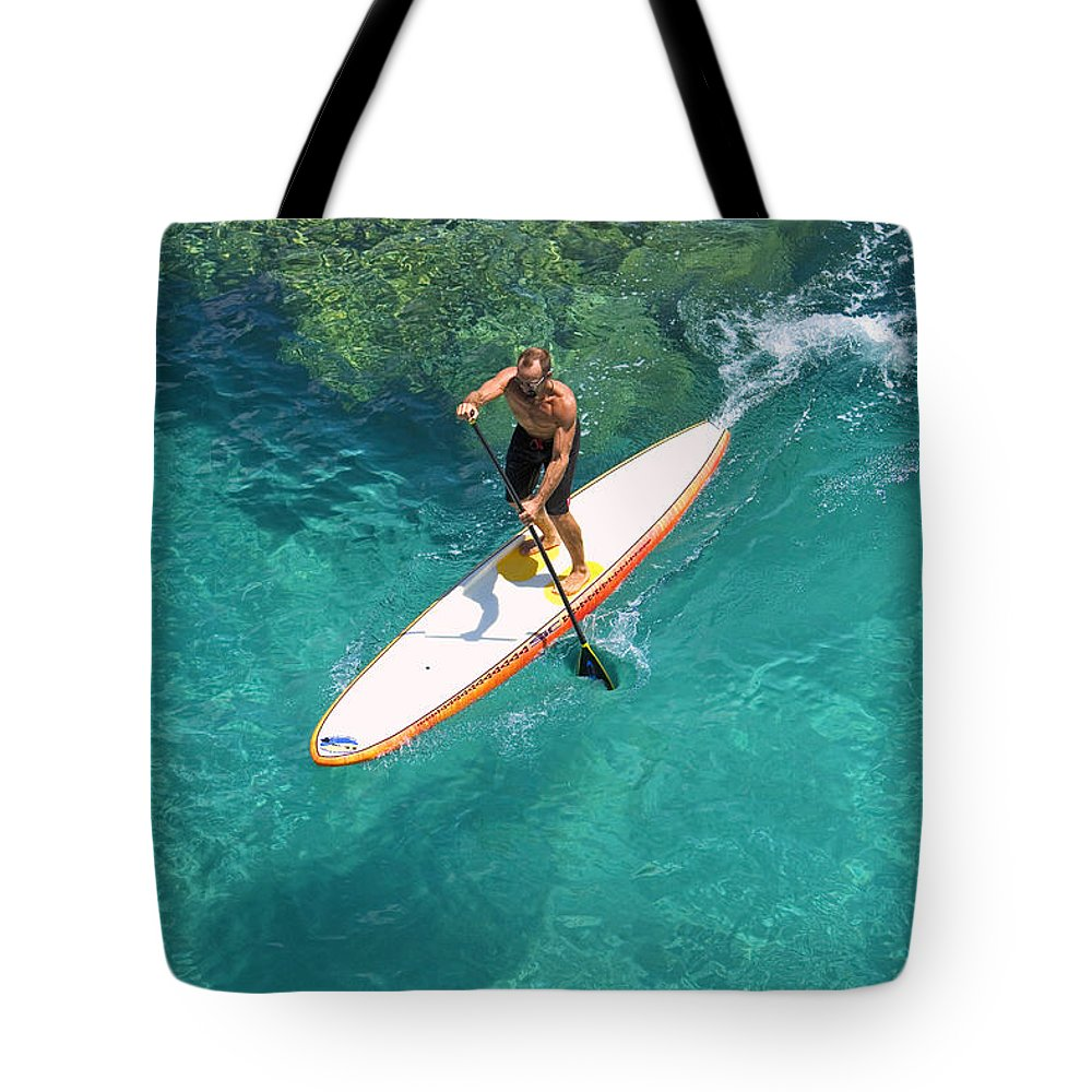 Adrenaline Tote Bag featuring the photograph Stand Up Paddling II by Ron Dahlquist - Printscapes