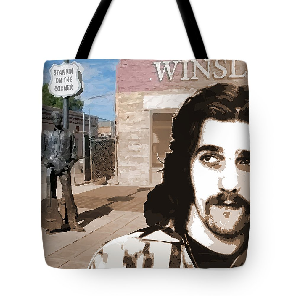 Glenn Frey Tote Bag featuring the drawing Standin On The Corner by Greg Joens