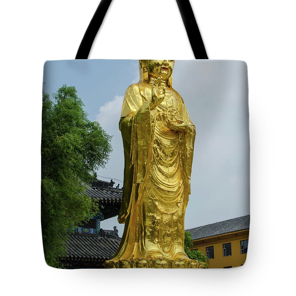 Standing Tote Bag featuring the photograph Standing Budda At Mi Tuo Shi by Paul Martin