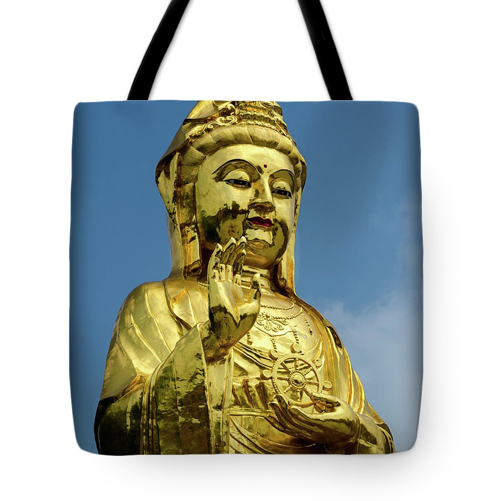Standing Tote Bag featuring the photograph Standing Budda by Paul Martin