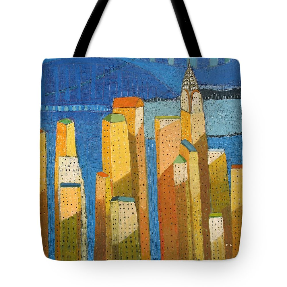 Abstract Cityscape Tote Bag featuring the painting Standing High by Habib Ayat