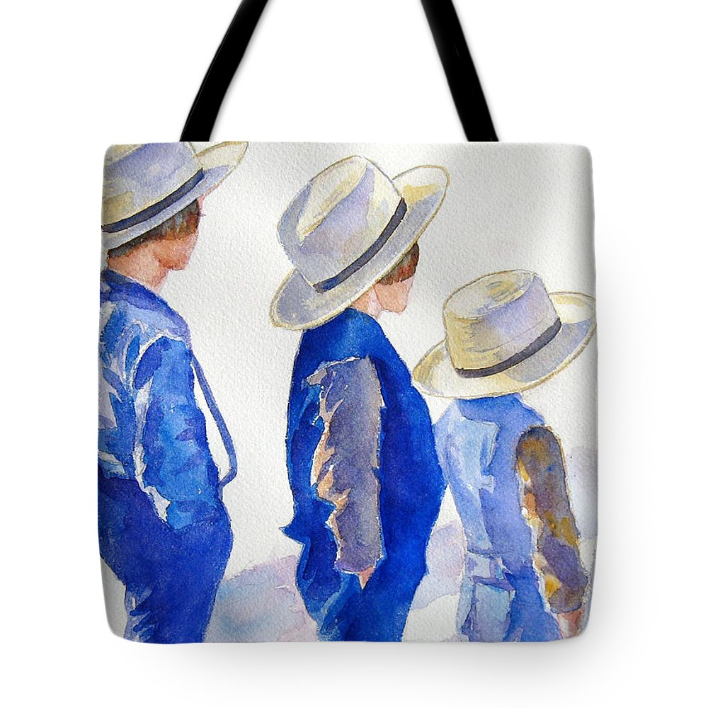 Boys Tote Bag featuring the painting Standing Watch by Marsha Elliott