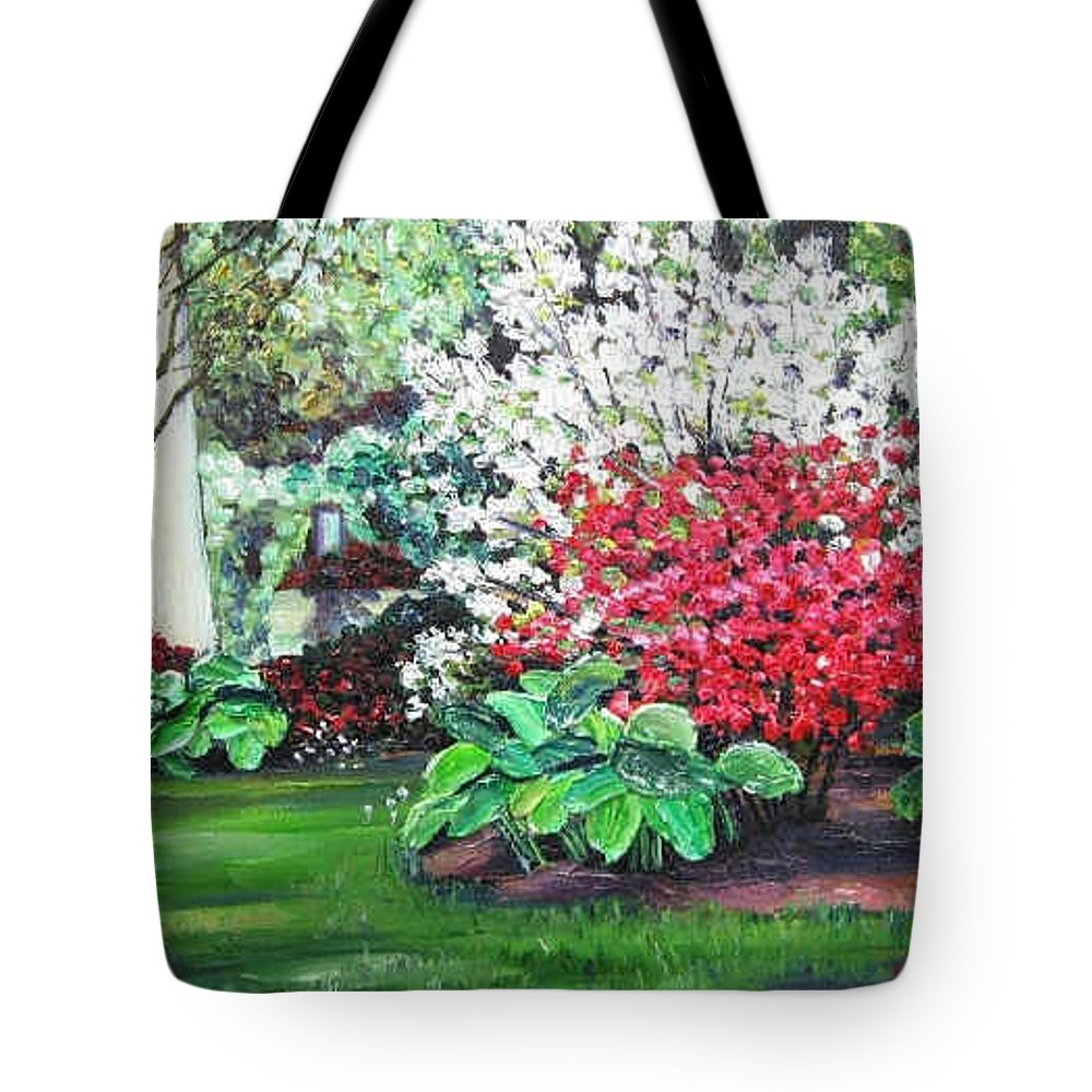 Blossoms Tote Bag featuring the painting Stanely Park Blossoms by Richard Nowak