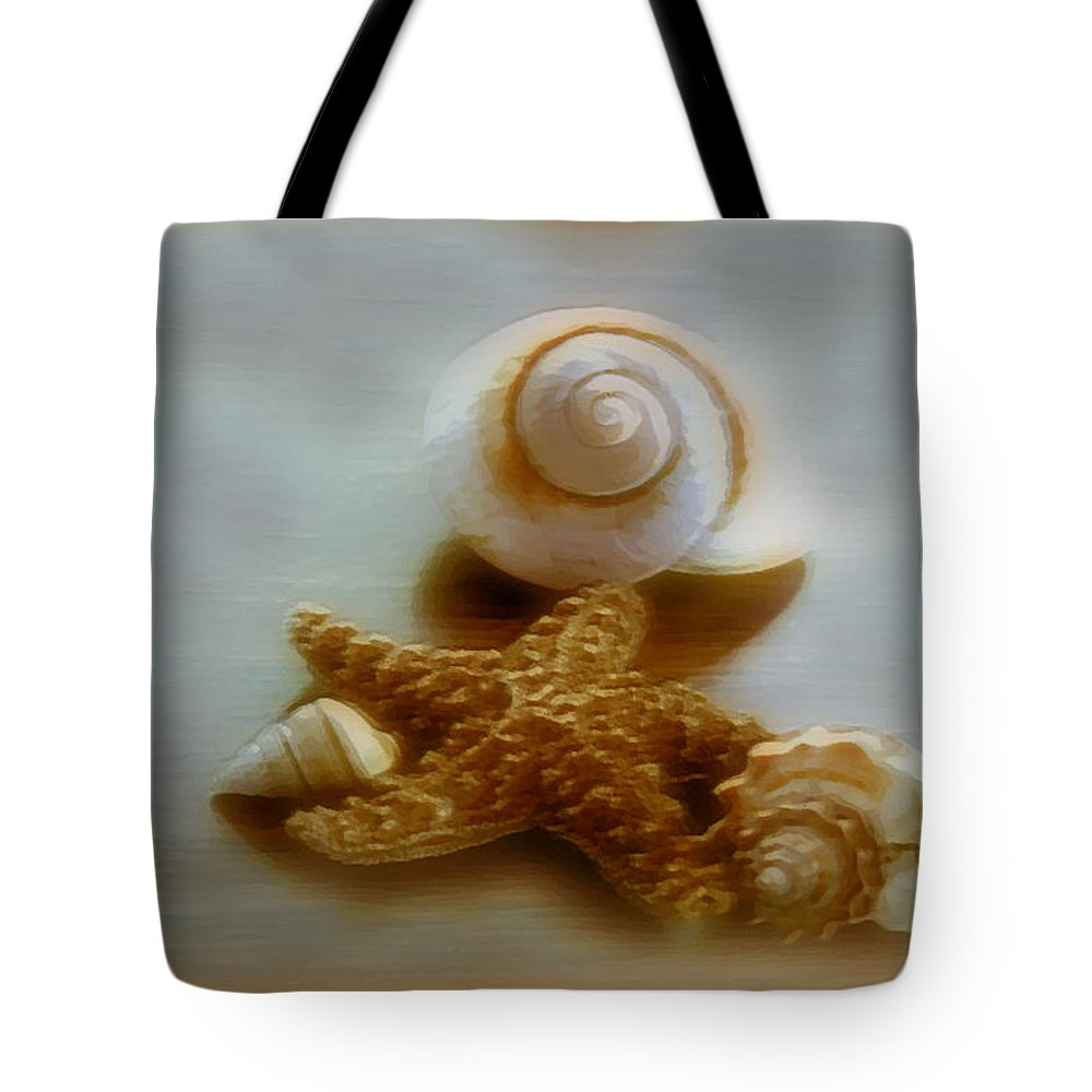 Beach Art Tote Bag featuring the photograph Star And Shells by Linda Sannuti