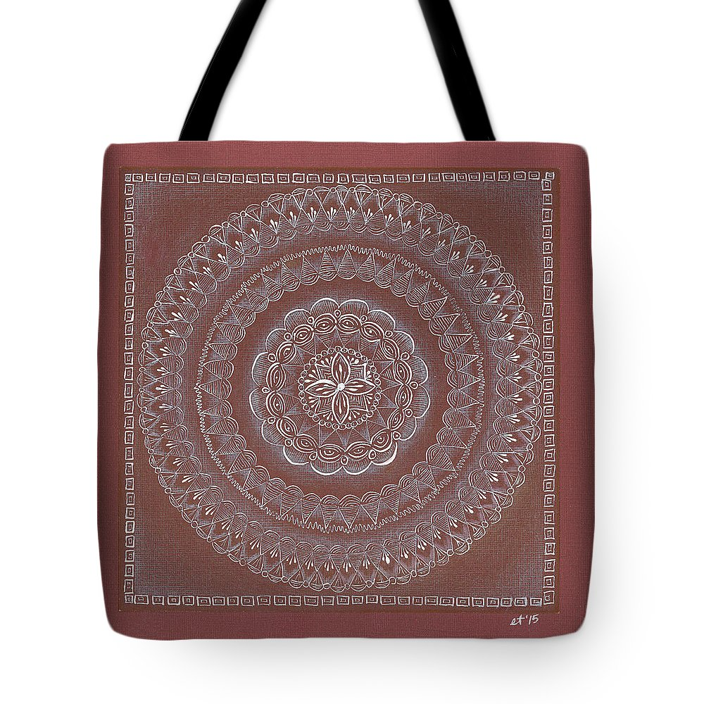 Mandala Tote Bag featuring the drawing Star Blossom by Elaine Tschuor