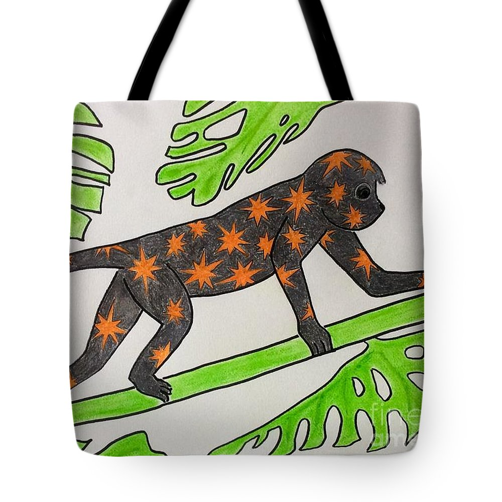 Monkey Tote Bag featuring the pastel Star. Monkey by Natalia Wallwork