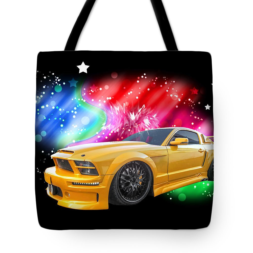 Ford Tote Bag featuring the photograph Star Of The Show - Mustang Gtr by Gill Billington