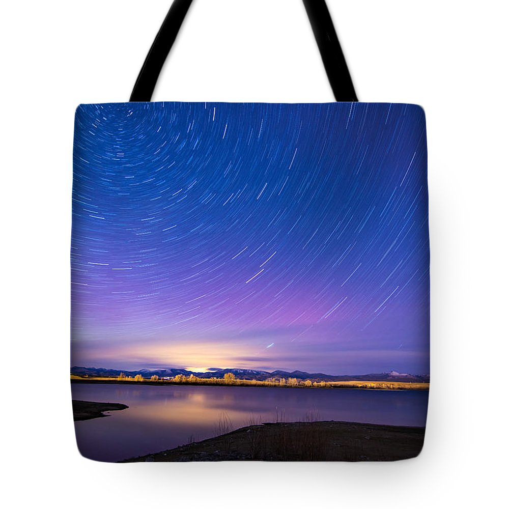 Nightscapes Tote Bag featuring the photograph Star Trails And Auroras by Tory Stephens
