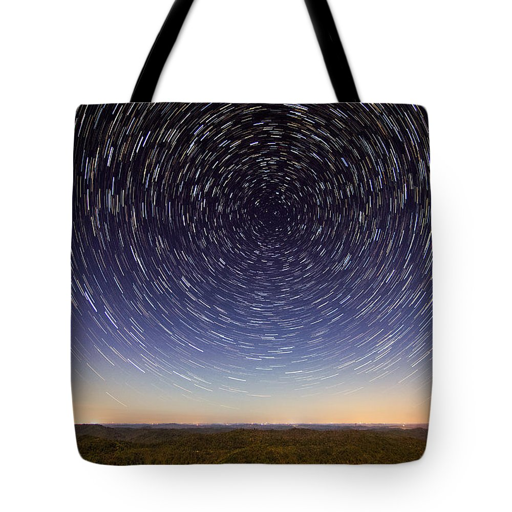 Stars Tote Bag featuring the photograph Star Trails Over Mountains by Cris Ritchie