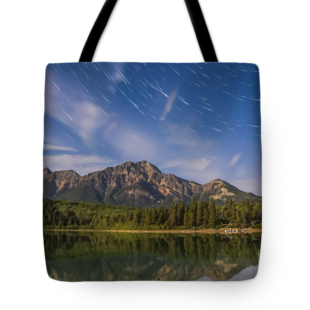 Big Dipper Tote Bag featuring the photograph Star Trails Over Patricia Lake by Alan Dyer