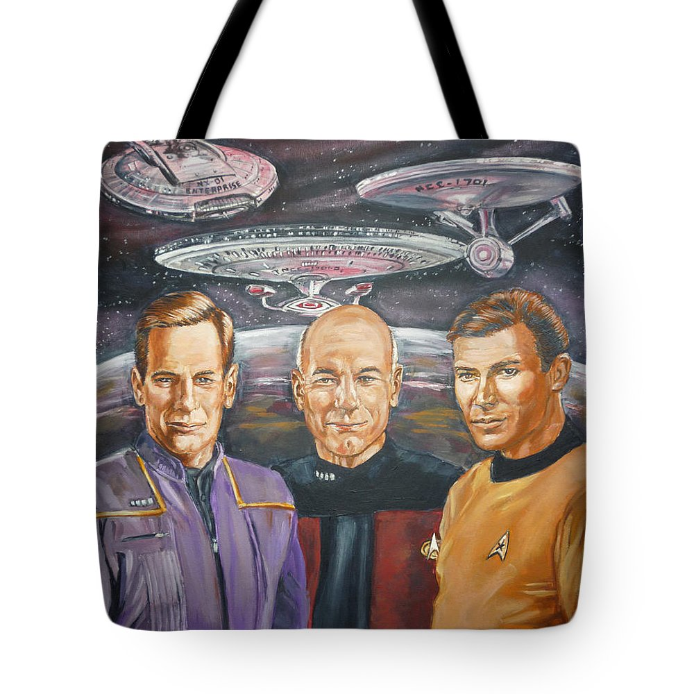 Star Trek Tote Bag featuring the painting Star Trek Tribute Enterprise Captains by Bryan Bustard