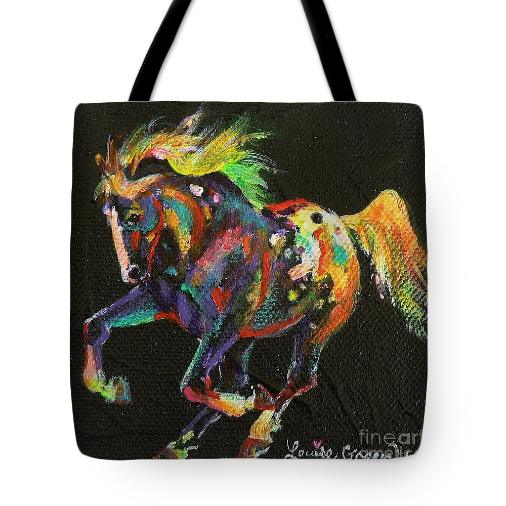 Starburst Pony Tote Bag featuring the painting Starburst Pony by Louise Green