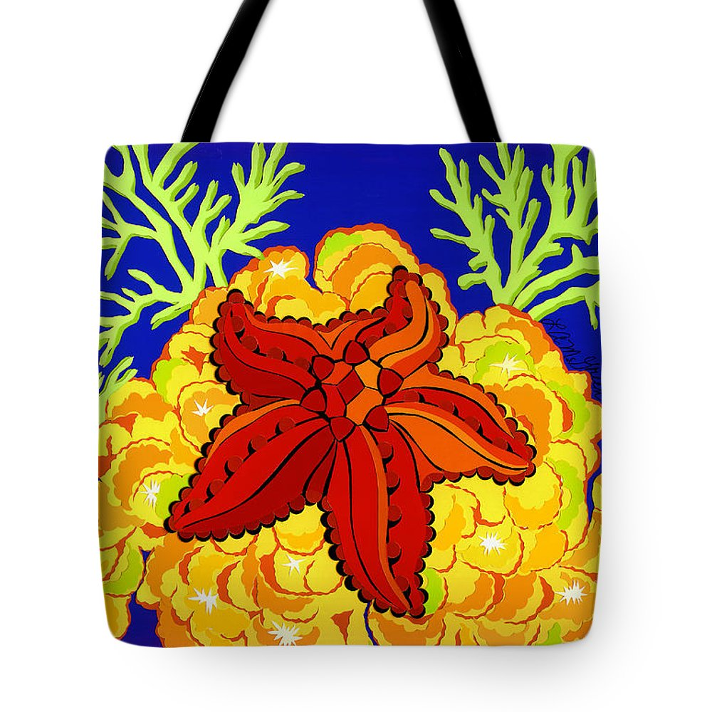 Nature Tote Bag featuring the drawing Starfish by Lucyna A M Green