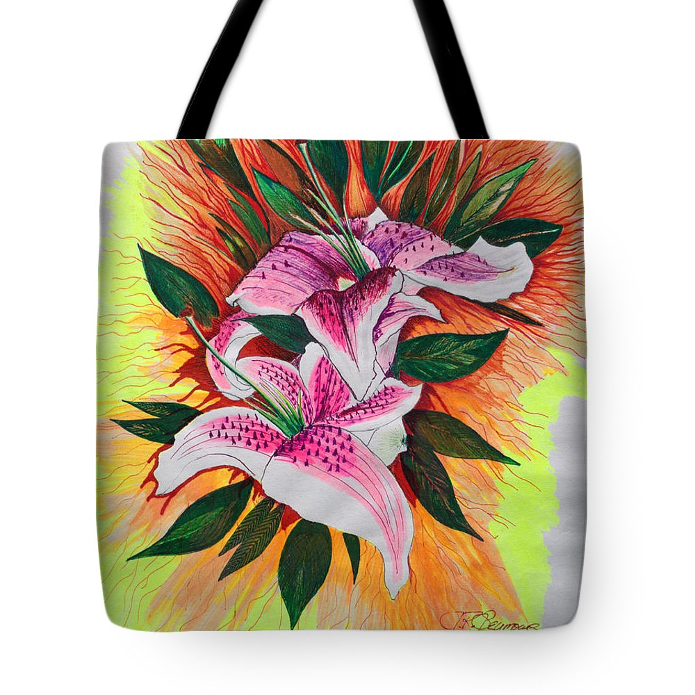 Flowers Tote Bag featuring the drawing Stargazers by J R Seymour