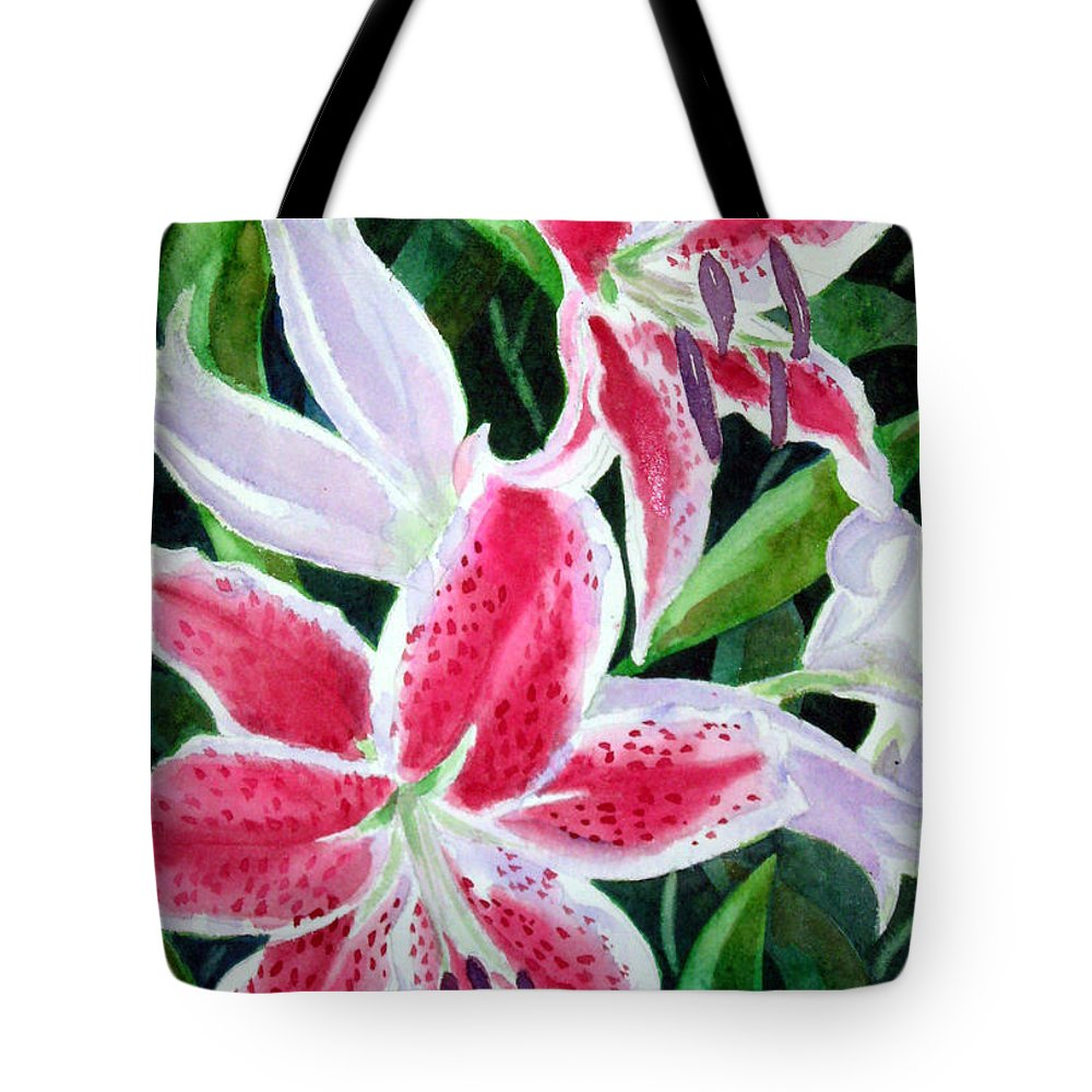 Lily Tote Bag featuring the painting Stargazers by Marsha Elliott