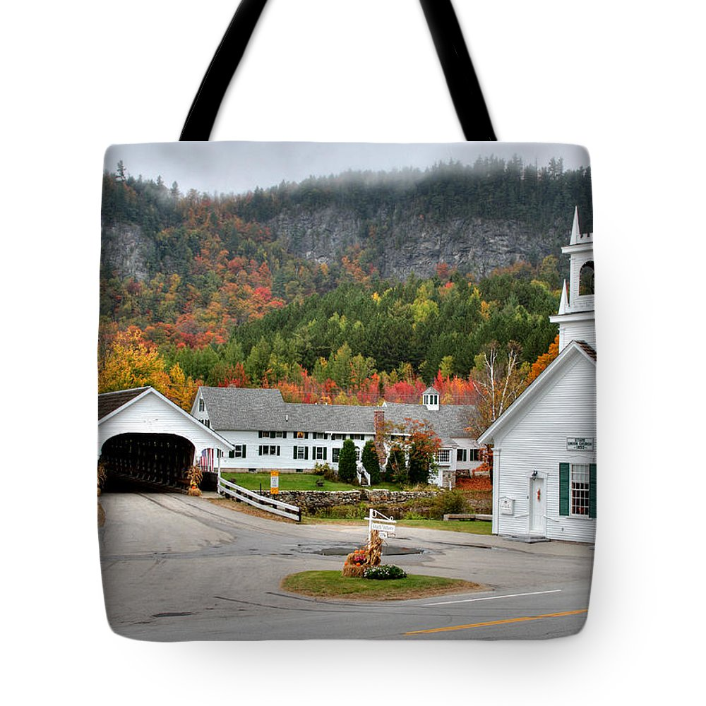 New Hampshire Tote Bag featuring the photograph Stark Covered Bridge And Village by Brett Pelletier